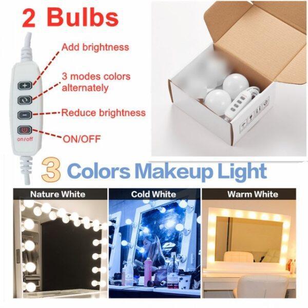 Bảng giá Bóng Đèn Gương Trang Điểm LED Đèn Gương Trang Điểm Bàn Trang Điểm Hollywood USB Đèn Bàn Trang Điểm Phòng Tắm, Thay Đổi Độ Sáng LED Đèn Tường