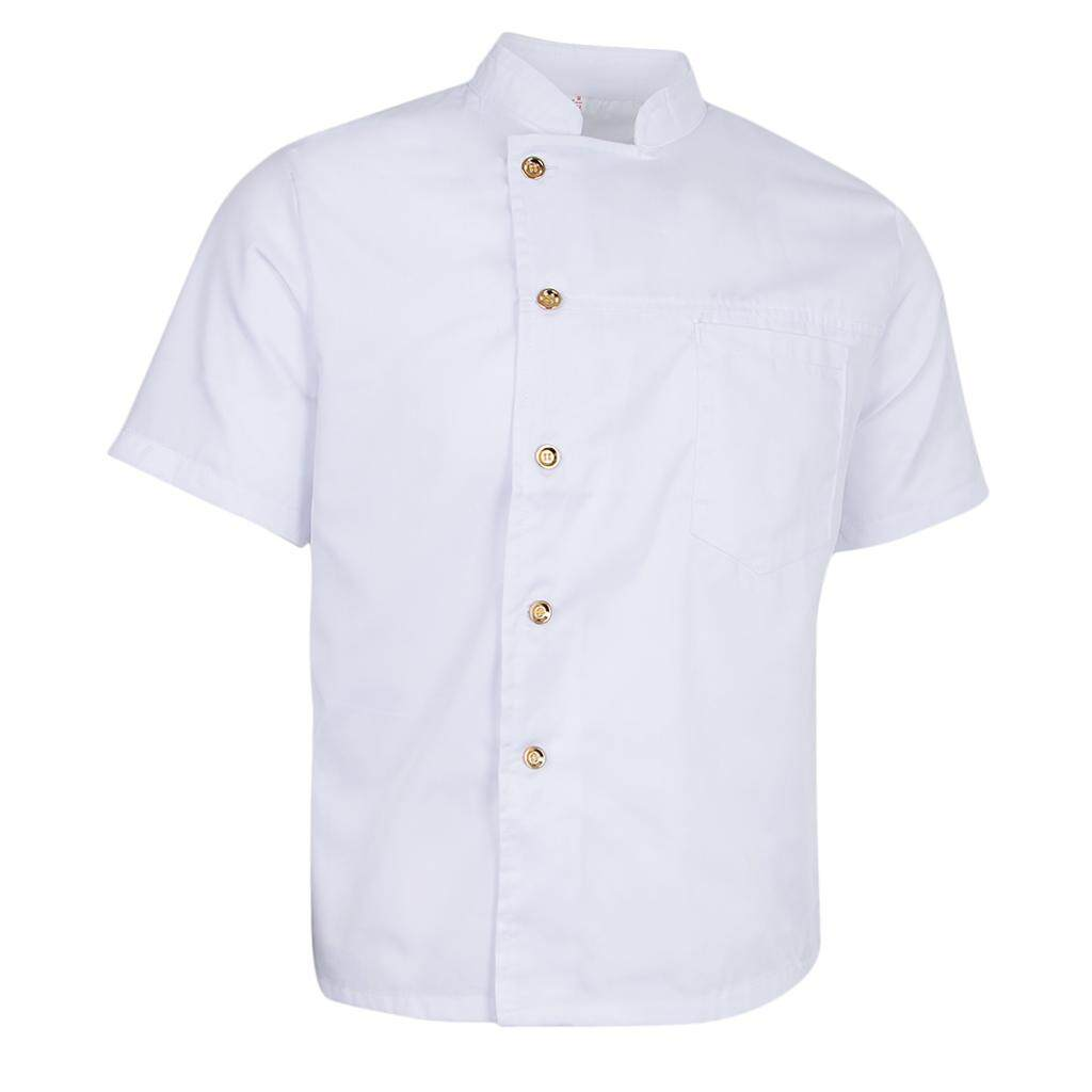 Fenteer Stand Collar Single-breasted Chef Jackets Coat Short Sleeves Shirt Kitchen Uniform for Women Men
