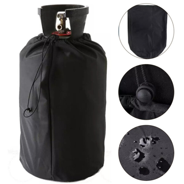 1 PC Black Waterproof Protective Dust-proof Cover for BBQ Barbecue Gas Bottle Cover