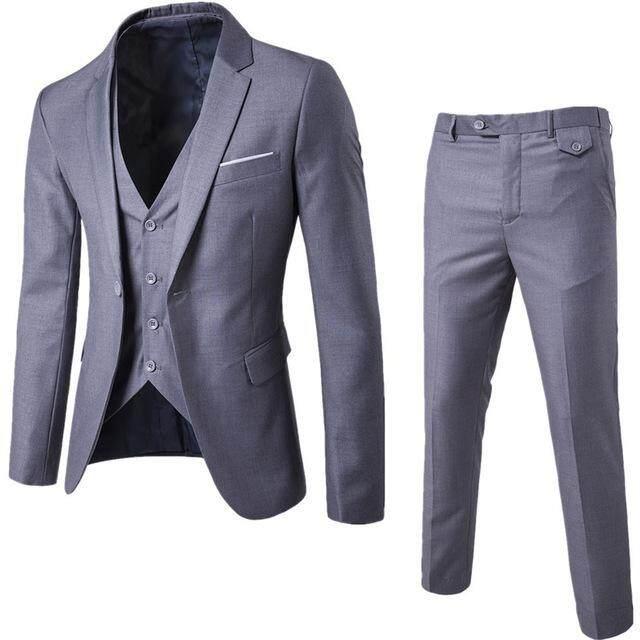 2018 New Men s Wedding Suit Three-piece Set Fashion Pure Business Casual  Suit Work Set 2c0c22ad617a