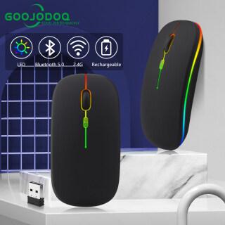GOOJODOQ Bluetooth Chuột Chuột Không Dây, Chuột Sạc 2 Chế Độ 2.4G Chuột Chơi Game Có Đèn Nền LED Nhiều Màu Im Lặng Siêu Mỏng Cho Máy Tính Xách Tay Macbook PC iPad thumbnail