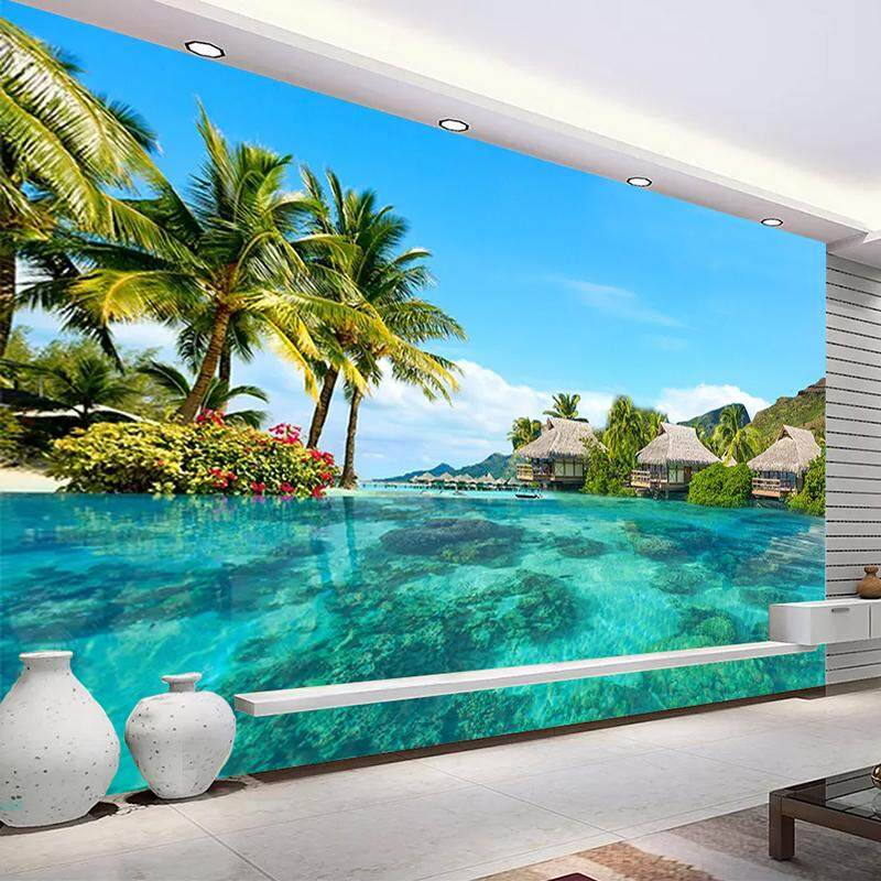3D Wallpaper Vinyl Wall Sticker HD Maldives Sea Beach Natural Landscape Photography Wall Mural Living Room Hotel Bedroom Luxury Decor Wallpaper