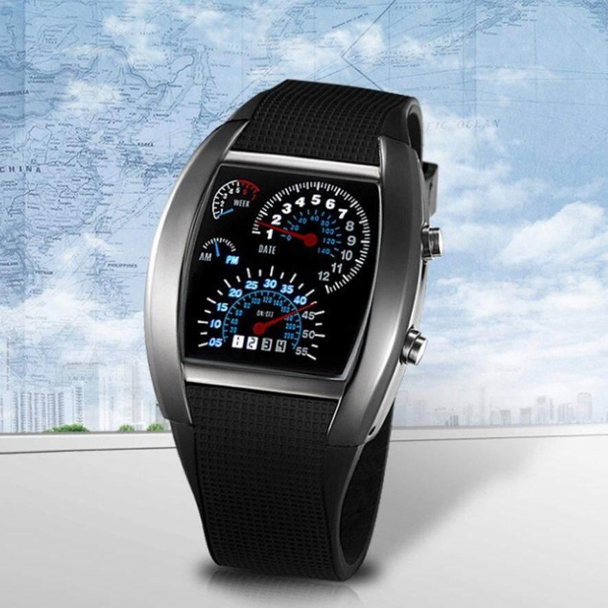 ที่ดีที่สุดผู้ใช้กีฬา Rpm Blue และสีขาวแฟลช Led มิเตอร์วัดความเร็วรถ Dial นาฬิกาข้อมือของขวัญ By Gearboxy.