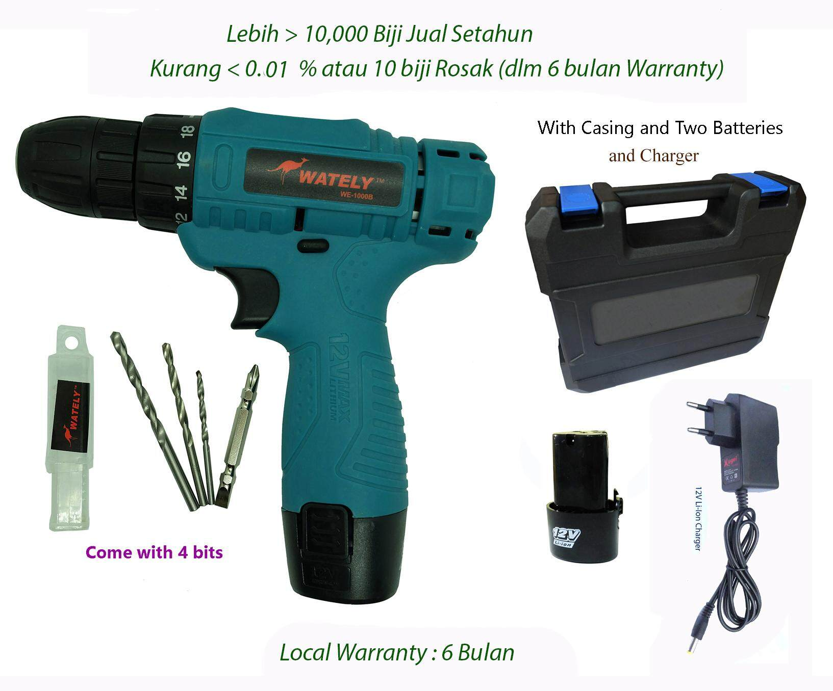 Wately WE1000 Battery Cordless Drill 12V with Two Li-Ion Batteries c/w  Casing and Bit Set