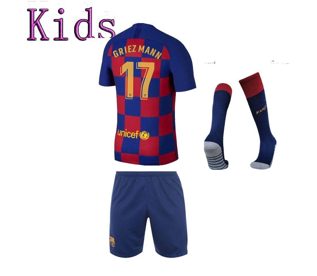(FREE Socks ) 19/20 Kids Barcelona Messi #10 Greizmann #17 Home Jersey Blue Short with socks