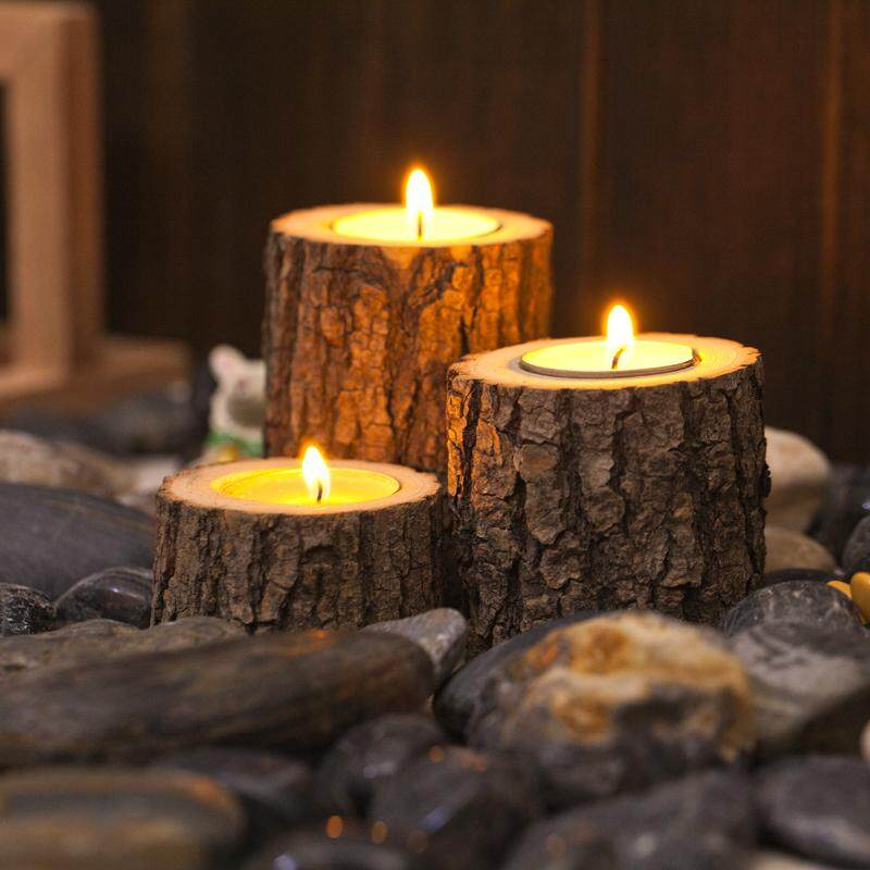 3PCS Natural Tree Stump Wooden Candle Holder Tea Light for Romantic Candlelight Dinner Wedding Decoration