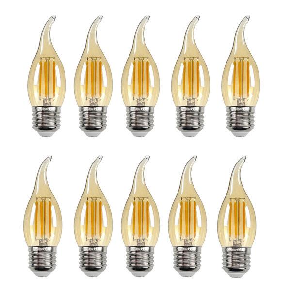 10 Cái Đèn LED Dây Tóc 4W, Bóng Đèn Edison Cổ Điển, Đèn Chùm E14/E27