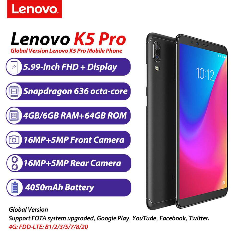 【Big Clearance】Global Version Lenovo K5 Pro Mobile Phone 6GB+64GB 5 99inch  18:9 Display Snapdragon636 Octa Core 16MP Four Cameras 4050mAh 4G LTE