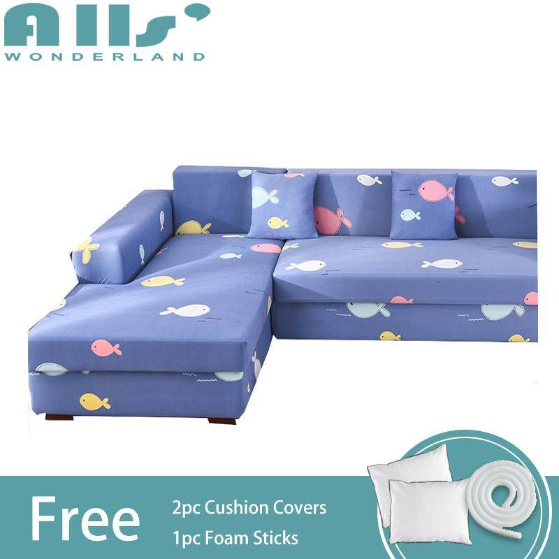 【Slipcover】(3+4 Seater)Universal Stretch Sofa Cover for L Shaped Sofa Elastic Sofa Cover for Assemble Sofa Spandex Protector Slipcover(AGGM)