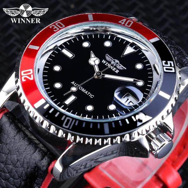 Winner 2019 Fashion Black Red Sport Watches Calendar Display Automatic Self-wind Watches for Men Malaysia