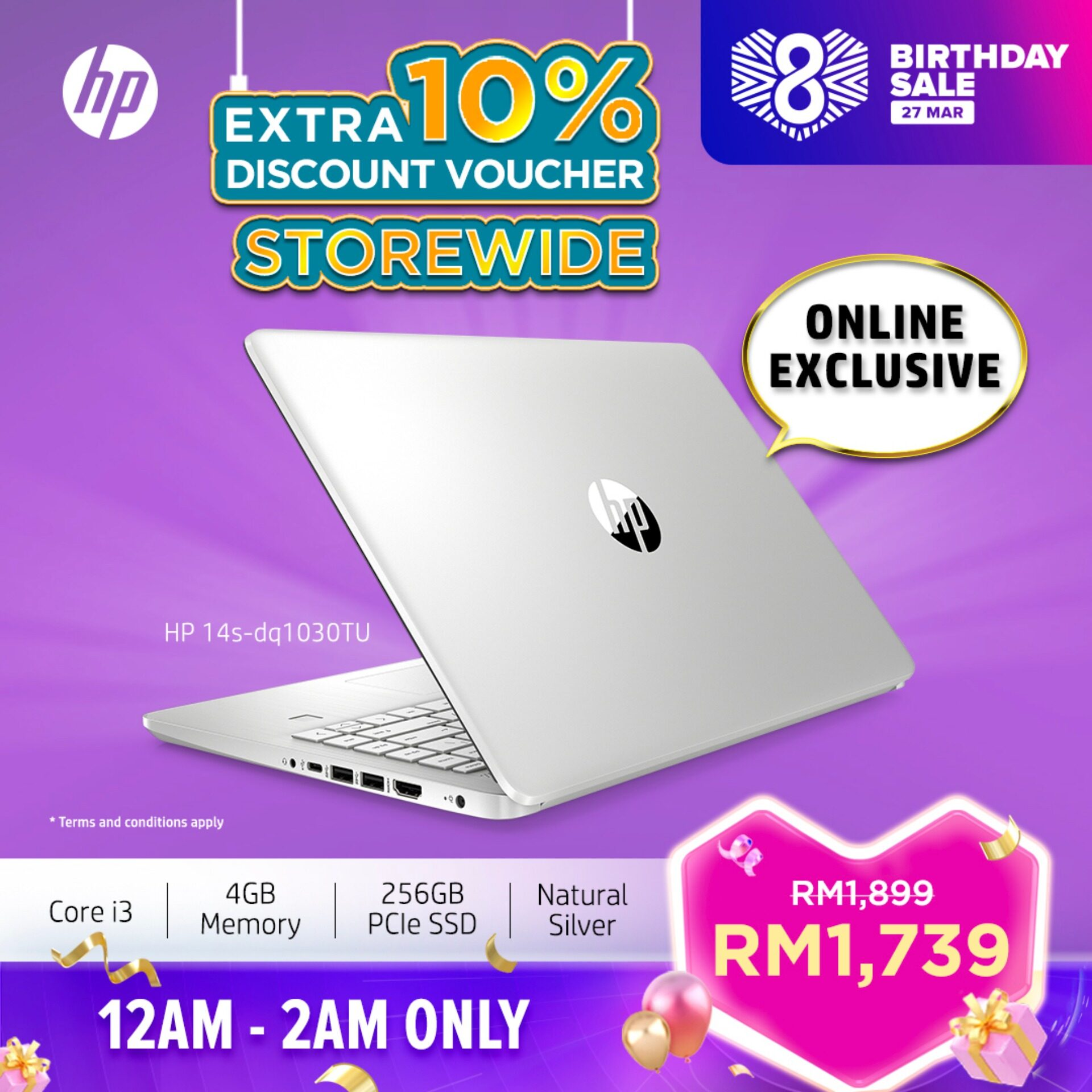 HP Laptop 14s-dq1030tu - Intel 10th Gen Processor ONLINE EXCLUSIVE [FREE Delivery & Backpack] Malaysia