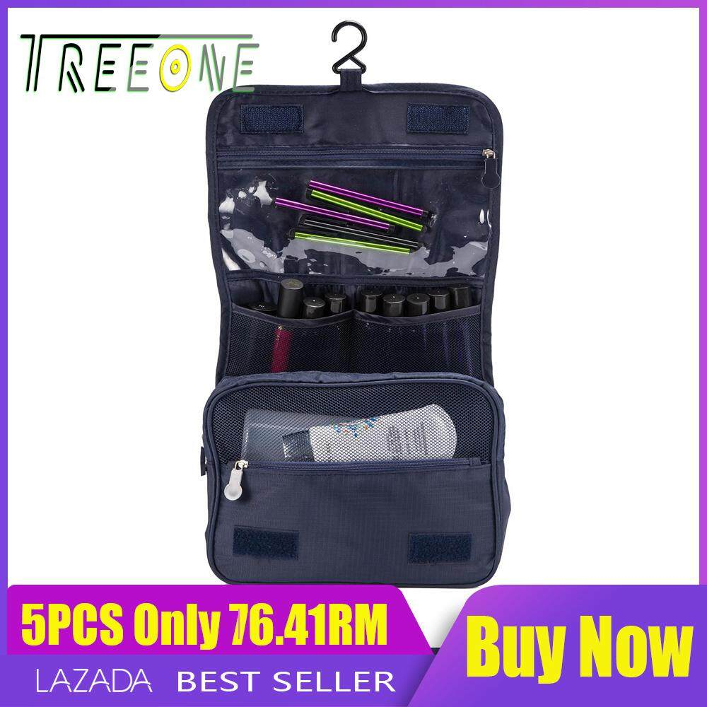 [free Shipping]waterproof Travel Cosmetic Toiletry Bag Cases Large Capacity Hanging Makeup Wash Bag Organizer - Grey By Treeone.