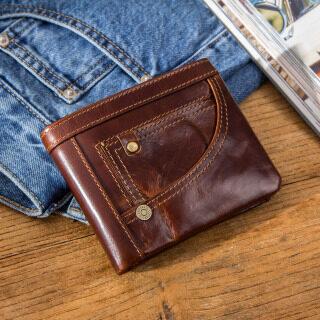 Contact s Ví Da Chính Thật Cho Nam Giới RFID Đựng Thẻ Của Nam Vintage Ví Đựng Tiền Xu Ngắn Bifold Túi Đựng Tiền thumbnail