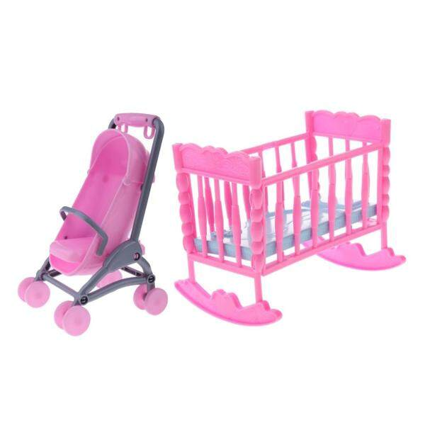 1/6 Pink Baby Cradle Bed + Stroller Model Dollhouse Miniature Furniture for Blythe Dolls Accessory Kids Playset Singapore