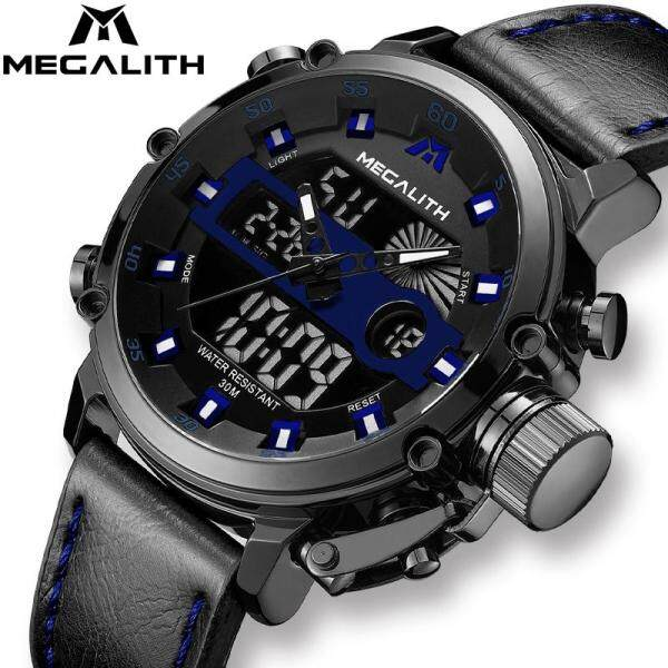 [RAYA SALE] Jam Tangan Lelaki MEGALITH Fashion Watch For Man LED Quartz Sport Dual Time Watches Men Waterproof Date Military Multifunction Jam Tangan Malaysia