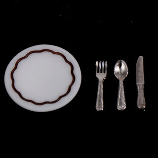 KINY 4 Cái Đĩa Dao Nĩa Muỗng Bộ Đồ Ăn Đồ Chơi Thực Phẩm Nhà Bếp Cho Nhà Búp Bê, Thu Nhỏ thumbnail