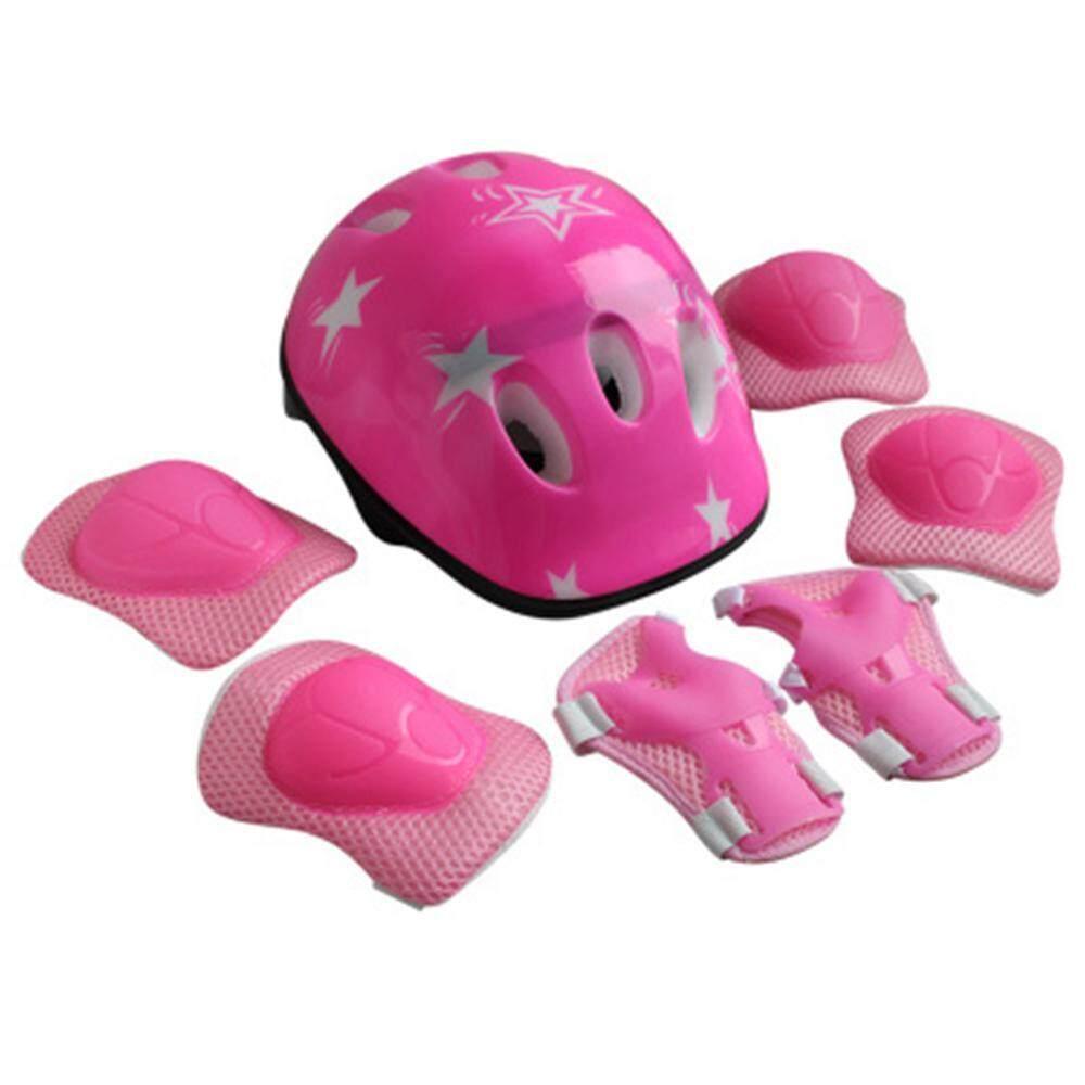 7pcs Kid Child Roller Skating Bike Helmet Knee Wrist Guard Elbow Pad Set 4 Color