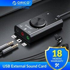 [Hàng Có Sẵn] Thẻ Âm Thanh Ngoài USB ORICO Có Tai Nghe Cổng + 1 Giắc Cắm Micrô Bộ Chuyển Đổi 3.5Mm Công Tắc Tắt Tiếng Điều Chỉnh Âm Lượng Miễn Phí (SC2)