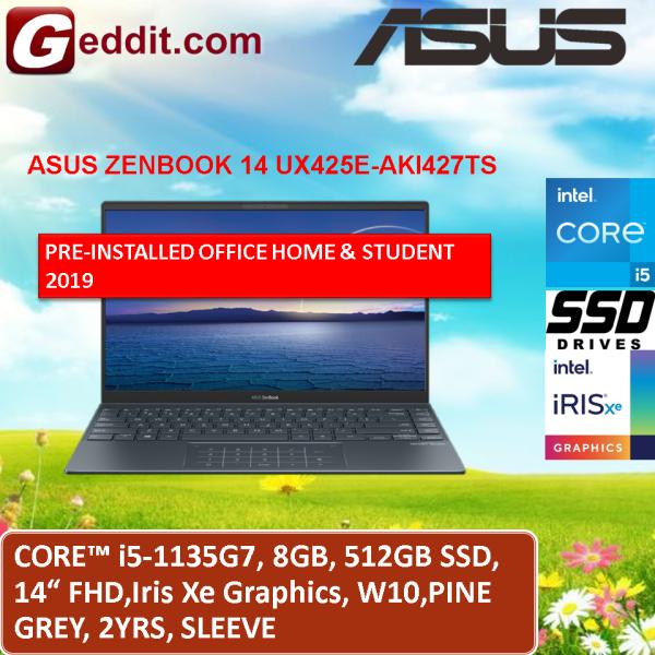 ASUS ZENBOOK 14 UX425E-AKI427TS / UX425E-AKI477TS LAPTOP (I5-1135G7,8GB,512GB SSD,14 FHD,XE GRAPHICS,WIN10) SLEEVE + PRE-INSTALLED OFFICE H&S 2019 Malaysia