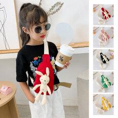 Túi đeo chéo kttrade cho bé gái, túi đeo hông, túi xách, Túi đeo chéo họa tiết hoạt hình chú thỏ