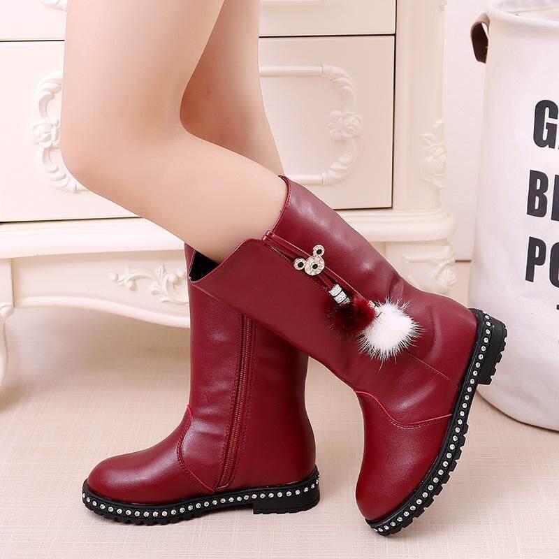 Giá bán Da PU Bé Gái Giày Bốt Thời Trang Nữ Trẻ Em Ủng Chống Nước dài Ấm Áp-hình trụ Trẻ Em Giày đen đỏ Size 27 -37