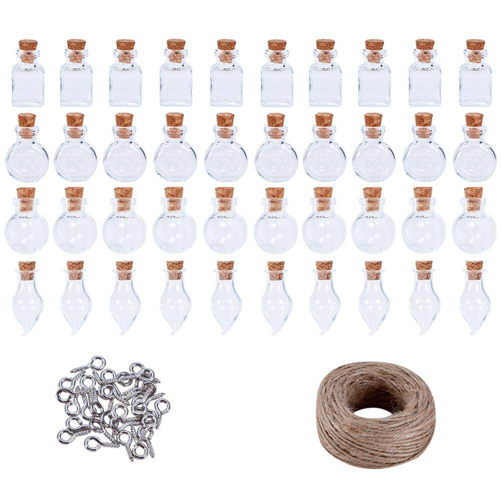 40 PCS DIY Handmade Mini Glass Bottle Message Blessing Bottle Decorative Bottle Miniature Glass Bottles Vials Set