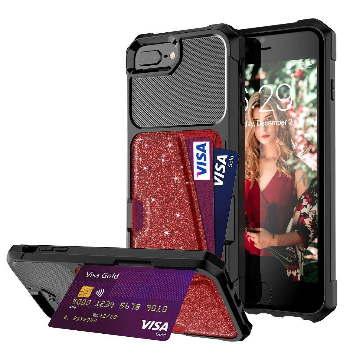huge inventory fe066 1779d For # iPhone 8 Plus iPhone 7 Plus iPhone 6s Plus iPhone 6 Plus Case # TPU &  Leather Glitter Anti-fall Card Holder Phone Case [Shock Absorption] ...