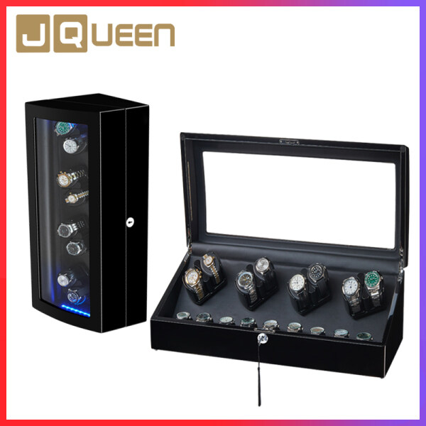 JQUEEN Automatic Watch Winder Box for 8+9 Storage with Blue LED Light Soft Flexible Watch Pillows for All Automatic Mechanical Watches Malaysia