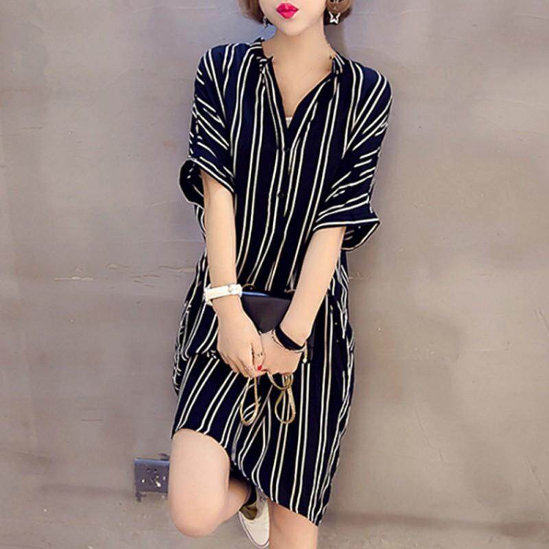 Plus Size Loose 5xl Striped Dress Women V Fashion Short Sleeve Print Stripe Dress Beach Cotton Femme By Beautyinggirls.