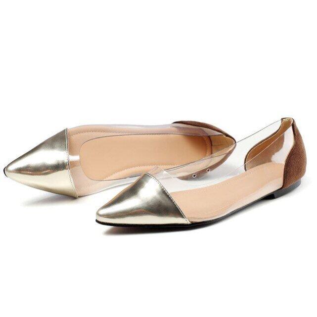 Giày Nữ Đơn Mới, Giày Đế Bằng Mũi Nhọn Nông Phẳng Giản Dị Giày Đối Với Phụ Nữ, Giày Lười Màu Hỗn Hợp Trong Suốt Kích Thước 35-42 giá rẻ