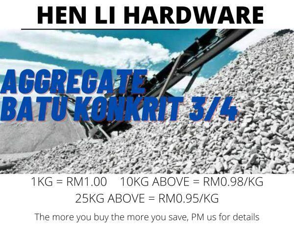 1KG Batu Konkrit / Aggregate / Batu 3/4 (Wholesale Price Available)