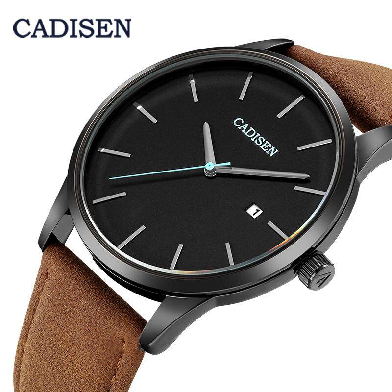 CADISEN Luxury Quartz Mens Watch Date Waterproof Thin Dial Stainless Steel Leather Strap Fashion Military Multicolor Wristwatch Malaysia