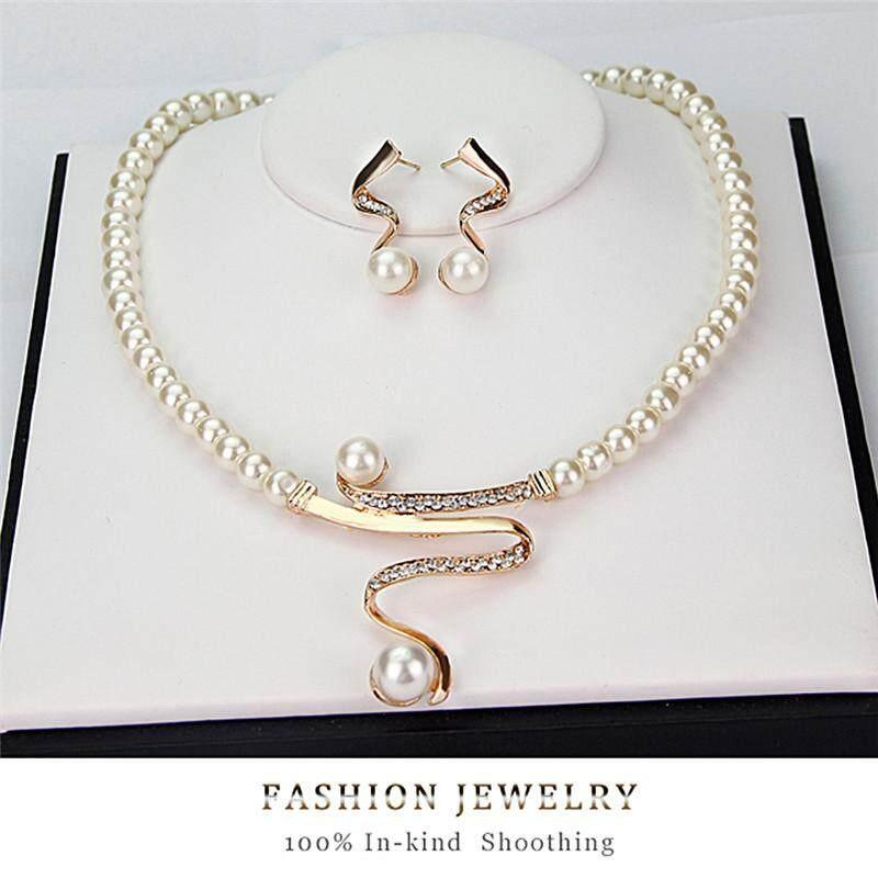 1 Vòng cổ + 1 đôi bông tai ngọc trai có đính kim cương giả cho nữ Pingrf