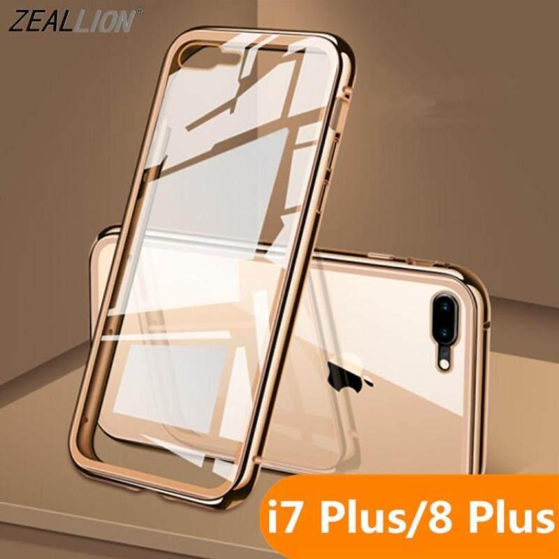 Giá Zeallion Cho iPhone 6 6 S 7 8 Plus Hai Mặt Kính Kim Loại Từ Hấp Phụ Trong Suốt Cường Lực kính cường lực Điện Thoại Ốp Lưng