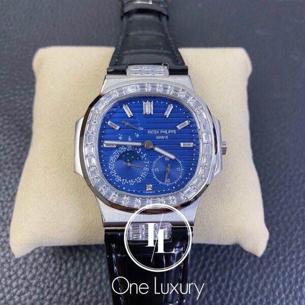 Origin NAUTILUS 5724G BLUE DIAL MOONPHASE DIAMOND BEZEL ON BLACK LEATHER STRAP Malaysia