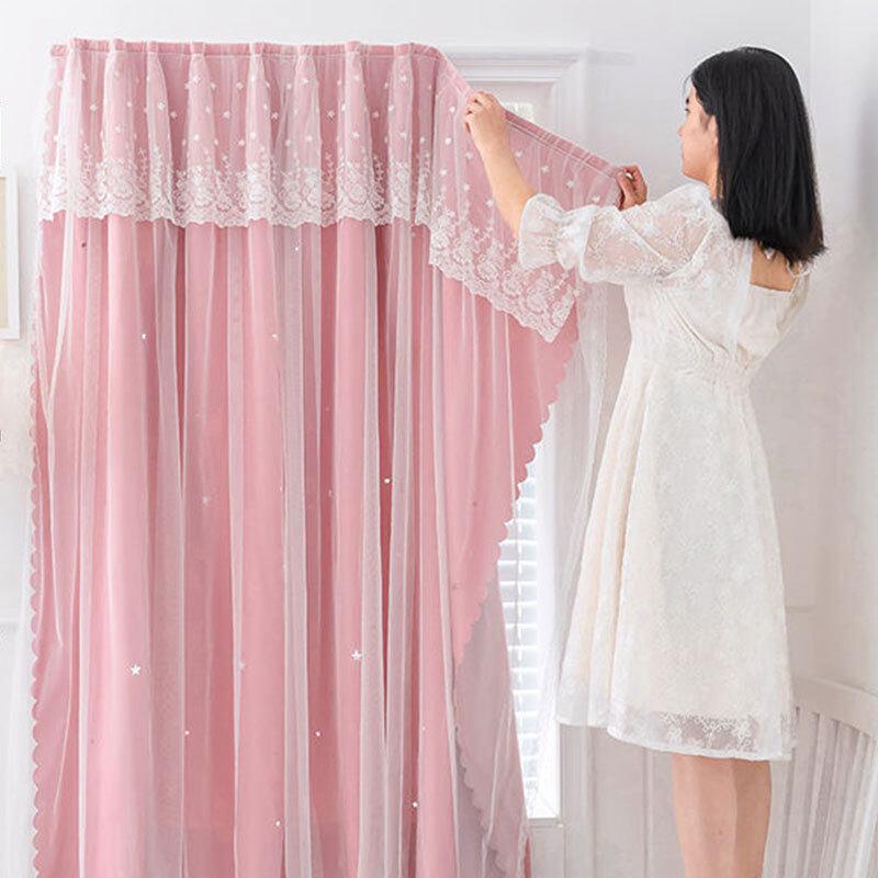 Rèm cửa phong cách công chúa, thiết kế không có đục lỗ để móc khoen, màn chắn ánh sáng - INTL