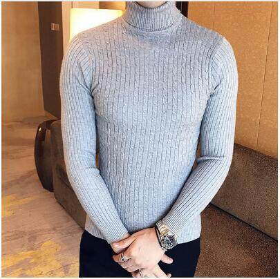 New Autumn Men Casual Sweater Turtleneck Striped Slim Fit Knitting Sweaters  And Pullovers Men Knitwear Male 1485efacd