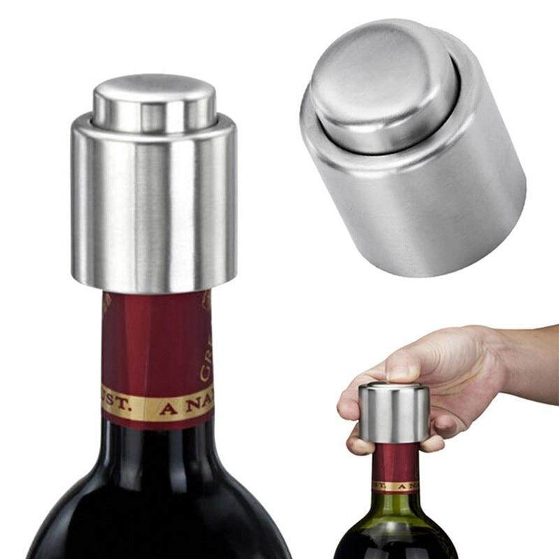 1X Stainless Steel Vacuum Sealed Red Wine Storage Bottle Stopper Plug Bottle Cap Bar Accessories Home Bars