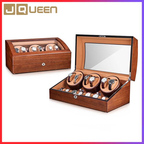 Jqueen Luxury Automatic Watch Winder 6+7 Storage Fraxinus Mandshurica + Brown Velvet 5 Wokring Modes Malaysia