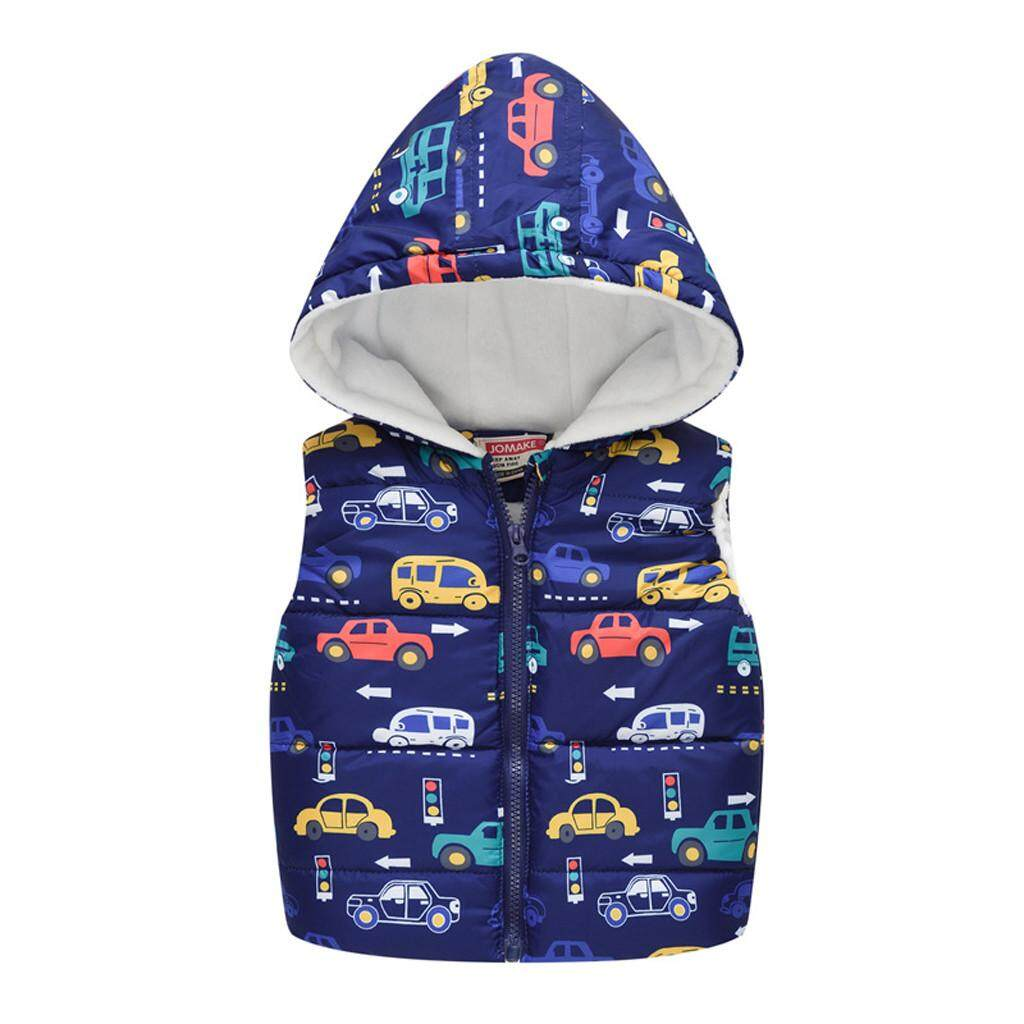 Baby Boys Toddler Kids Sleeveless Car Print Hooded Warm Waistcoat Tops