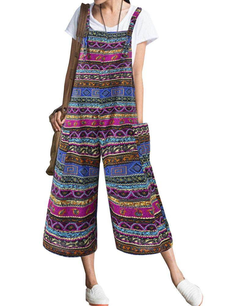 5f91ee4d78d O-NEWE Fashion Ethnic Women Bohemian Strap Pockets Loose Jumpsuits Rompers  Plus Size
