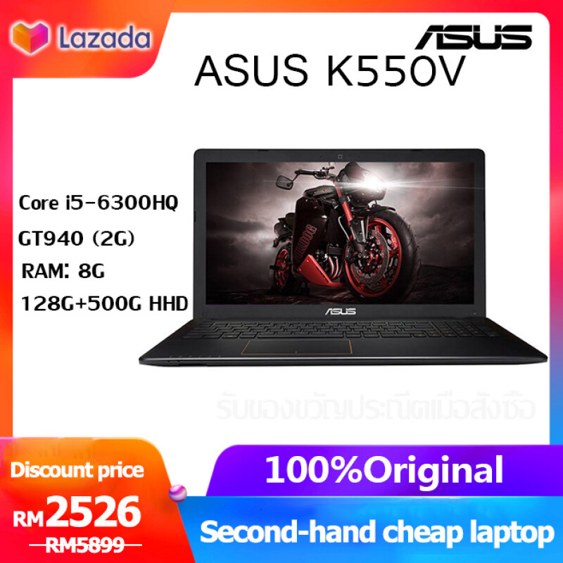 【Second-hand genuine ASUS i5 laptop】The laptop uses the new ASUS K550V, the sixth-generation Core i5-6300HQ standard pressure processor, 8g memory, 128G SSD + 500G HHD / GT940MX 2G / built-in camera, wireless WIFI. Malaysia