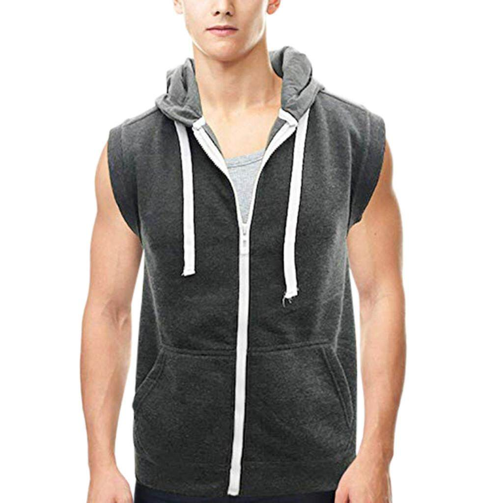 d5d1a1f8b1ee46 Mobilone-Men s Hooded Vest Sleeveless Lightweight Zip-up Casual Sport  Workout Tank Tops