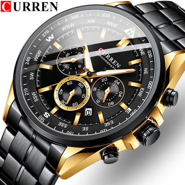 CURREN Brand Fashion Mens Quartz Business Watch Waterproof Casual Sports Watch Six-pin Multi-function Stainless Steel Date Clock Malaysia