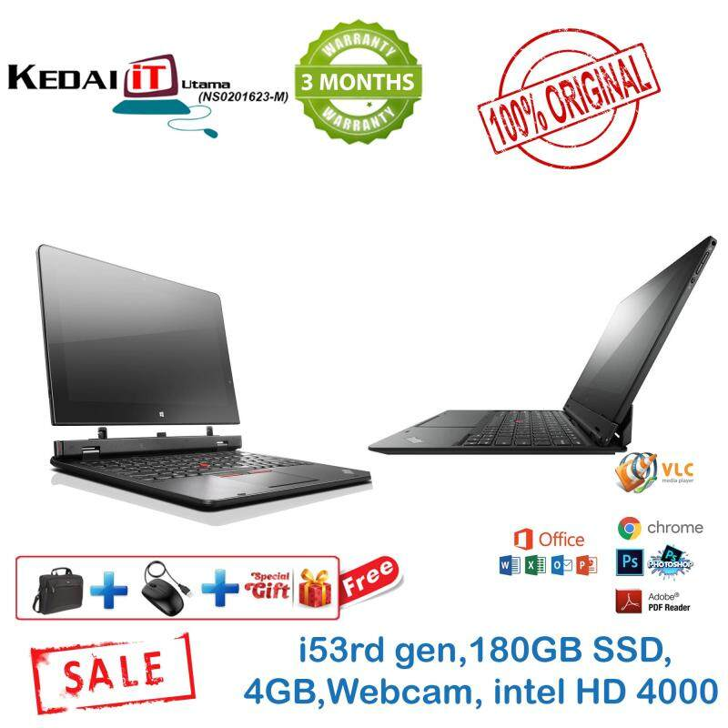 Lenovo Helix Ultrabook (TOUCH SCREEN) Laptop  + tablet  intel i5 3rd Gen 40GB RAM 180Gb SSD 3 Months Warranty Free Bag + Mouse(refurbished) Malaysia