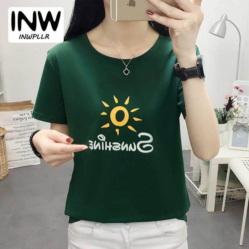 e6230d544e5 INWPLLR Women T-Shirts Sunshing Print Tops Korean Fashion Letter Tshirt  Summer Casual Short Sleeve