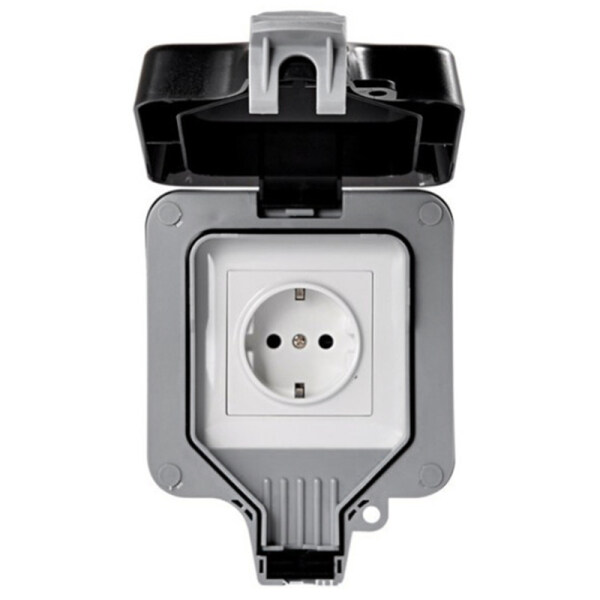 IP66 Weatherproof Waterproof Outdoor Wall Power Socket 16A EU Standard Electrical Outlet Grounded AC 110-250V EU Plug