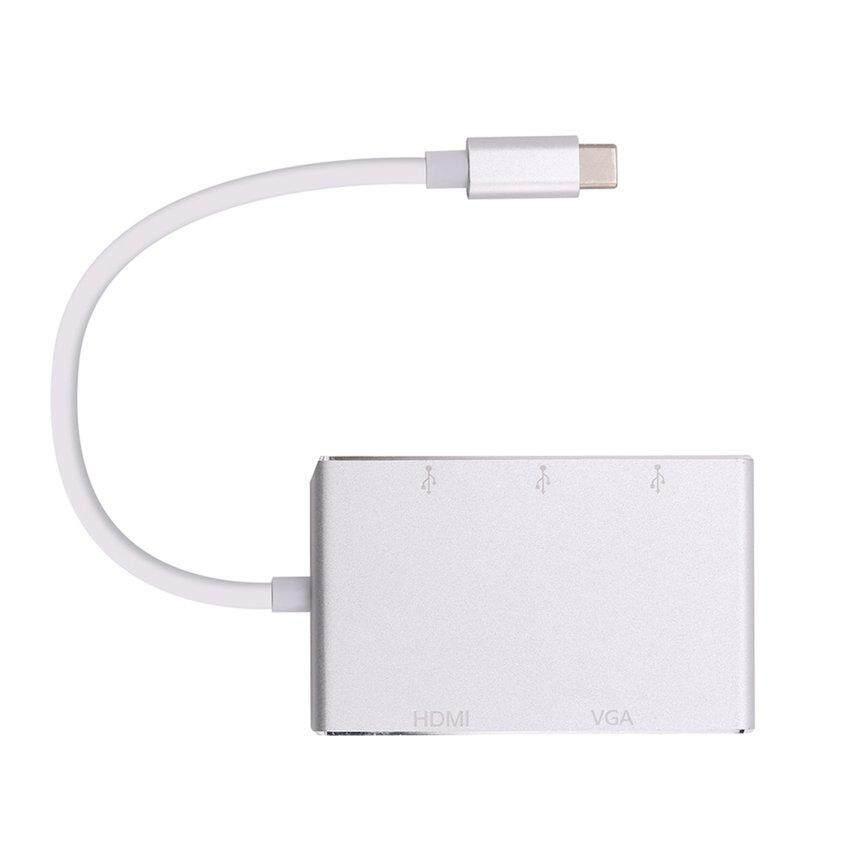 Top Dijual Tipe-C Ke HDMI + VGA + USB 3.0 5-In-One Konverter untuk Macbook