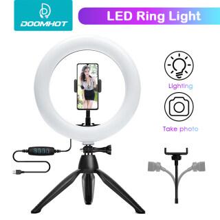 Đèn LED Tròn DoomHot Thay Đổi Độ Sáng Và Bổ Sung Ánh Sáng Giá Đỡ Điện Thoại Di Động Đèn Vòng Ba Chân Đèn Lấp Đầy Kết Nối Bluetooth, Với Giá Đỡ Ba Chân Và Giá Đỡ Điện Thoại Để Phát Trực Tiếp Và Chụp Ảnh thumbnail