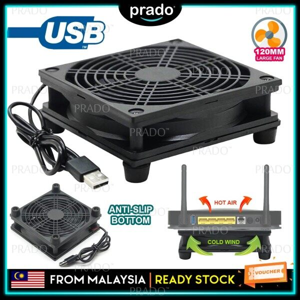 PRADO Malaysia Silent 120mm Cooling Fan External Cooler Stand Router Modem TV Box wt 5V USB - Single Fan 1200RPM Malaysia